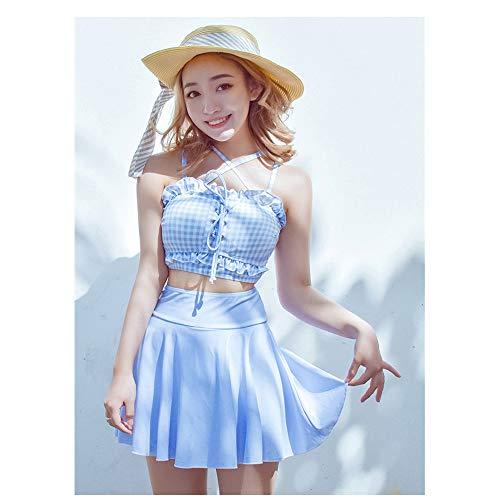 JUZEN Women ' S Bikini Set Cross Banded Tube Top & Pleated Rock Rock Bold Cute Fresh Blue Plaid Bandage Swimsuit Set, Covering Sandy Beachwear,XL Banded Tube Top