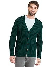 WoolOvers Cardigan à col en V côtelé - Homme - Pure Laine
