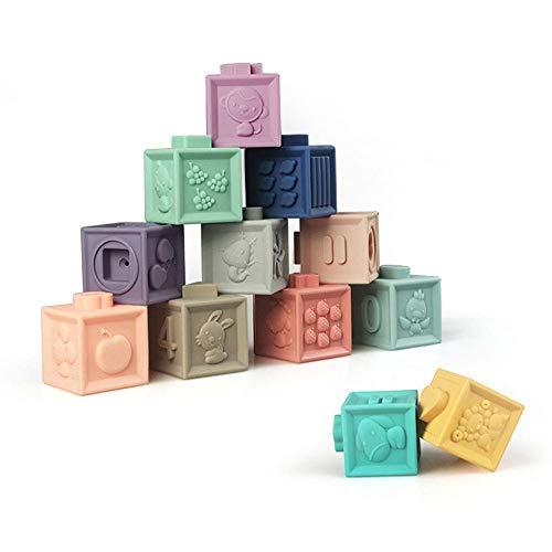 Teepao, mattoncini 3d da masticare per la dentizione del bambino, in gomma morbida goffrata, giocattoli educativi per il bagno con numeri, forme di animali, frutta, mattoncini per bambini 12pcs