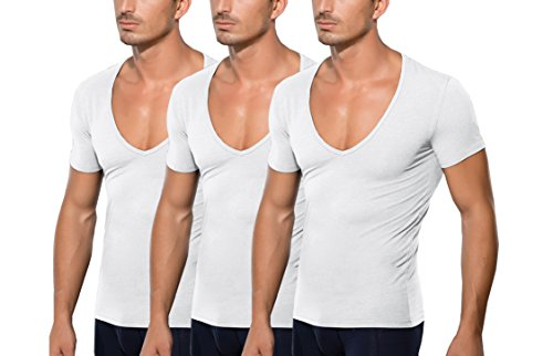 DOREANSE Herren T-Shirt Männer Großer Ausschnitt Tiefer V-Ausschnitt Unterhemd Baumwolle deep-v-Neck ALS Multipack erhältlich(Weiss, L)