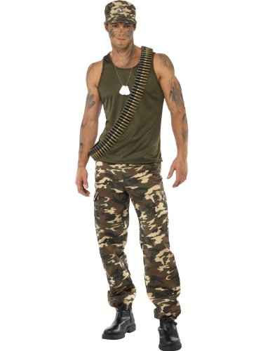 Karneval Herren Kostüm Militär Soldat Khaki Camouflage Uniform (Militär Kostüm Soldat)