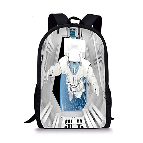 School Bags Outer Space Decor,Astronaut Inside Spaceship Cosmic Journey Celestial World Universe Theme,White Blue for Boys&Girls Mens Sport Daypack