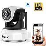 1080P WLAN IP Kamera, HD WiFi Überwachungskamera, mit 355°/90° Schwenkbar, Hund/Baby Monitor mit Bewegungserkennung, Zwei-Wege-Audio, Nachtsicht, Unterstützt Fernalarm und Mobile App Kontrolle