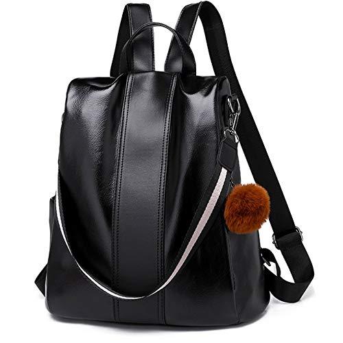 SPAHER Vintage Damen Rucksack Handtaschen Daypack Umhängetasche Reiserucksack Schulrucksack Backpack Schultertasche PU Leder Anti Diebstahl Tasche für Schule Reise Arbeit Schwarz -