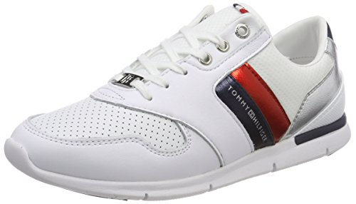 Tommy Hilfiger Damen Light Weight Leather Sneaker, Weiß (RWB 020), 41 EU