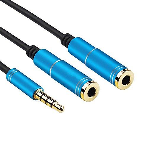 Audio Y Splitter Kabel Stereo Klinken Y Adapter Cable 3,5mm Stecker auf 2x 3,5mm Buchse für Handys, MP3 Player, Tablet usw. 34 cm Blue (Coiled Cord Weiß)