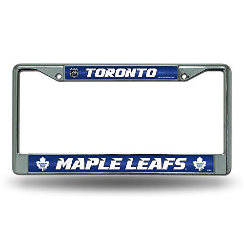Rico NHL Toronto Maple Leafs Bling Chrome License Plate Frame with Glitter Accent -