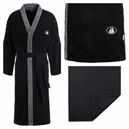 Egeria Sauna-Set l Bademantel BLACK WHITE l Kimono l Madison Handtuch l Schwarz l Größe M