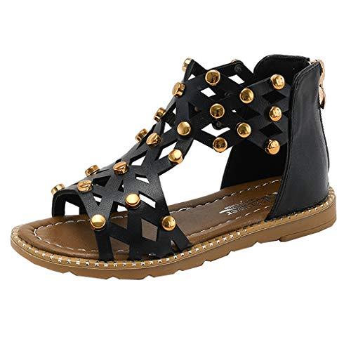 Babyschuhe pu Leder Prinzessin Schuhe weiche Unterseite rutschfeste Perle Sandalen römische Schuhe Baby mädchen Jungen Bandage Schuhe Pailletten Mode - Farbtöne Römische Schwarze