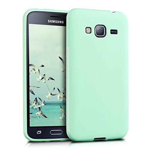 kwmobile Funda para Samsung Galaxy J3 (2016) DUOS - Carcasa para móvil en TPU Silicona - Protector Trasero en Menta Mate