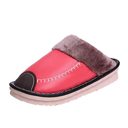 Suitray Herren Slipper Indoor, Mode Damen Warm Plüsch PU Leder Wasserdicht Zehentrenner Winter Herbst Hausschuhe Pantoffeln Paare Warm Maulesel