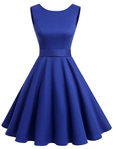 Wedtrend 50s Retro Vintage Dot Einfarbig Rockabilly Ärmellos Kleid Faltenrock WTP10005 Royal Blue L (Kleid Ärmelloses Blaues)