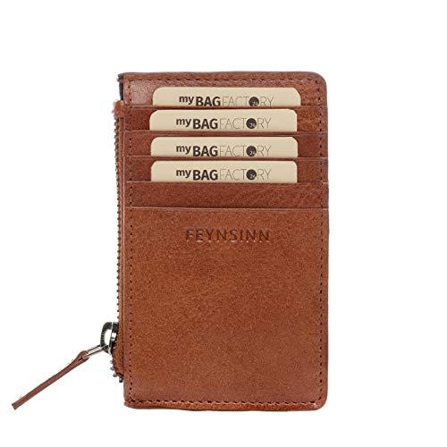FEYNSINN Kartenetui Leder RIGA kleine Geldbörse Kreditkartenhalter Unisex mit münzfach kreditkartenetui echter Ledergeldbeutel Damen Herren braun