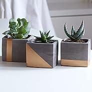 Atelier Ideco - Set Di Tre Vasi Per I Fiori Quadrato Di Cemento Grigio Color Rame Verniciato, Con Fori Di Dren