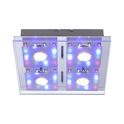LED Decken Leuchte RGB eckig 30 x 30 cm 4x 3 W LED Spot + 48 x LED Farbwechsel Fernbedienung getrennt schaltbar Glasplatte Spiegel-Platte chrom bunt 1112 Lumen Chrom-platte