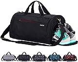 CoCoMall Sporttasche mit Schuhfach und nasser Reisetasche 35 liter Schwarz