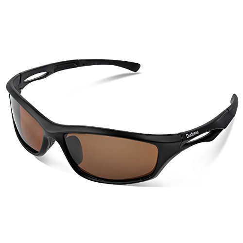 Duduma Polarisierte Sportbrille Sonnenbrille Fahrradbrille mit UV400 Schutz für Damen & Herren Autofahren Laufen Radfahren Angeln Golf TR90 (Schwarz Matt Rahmen mit Braun Linse)