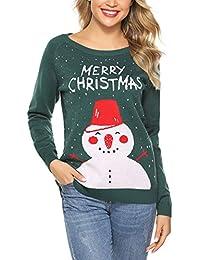 Aibrou Sueter de Navidad para Mujer,Jersey de Punto Cuello Redondo Clásico Vintage Monigote de Nieve,Copo de Nieve,Merry Christmas,Suéter de Navidad de Invierno