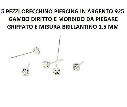 2,5 mm 2 6 Pezzi Orecchino Naso Piercing Nasino In Argento 925 Pallino 1,5