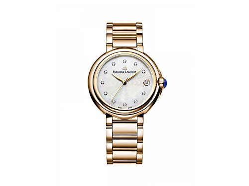 Maurice Lacroix Fiaba Round FA1004-PVP06-170-1 Reloj de Pulsera para mujeres con diamantes genuinos