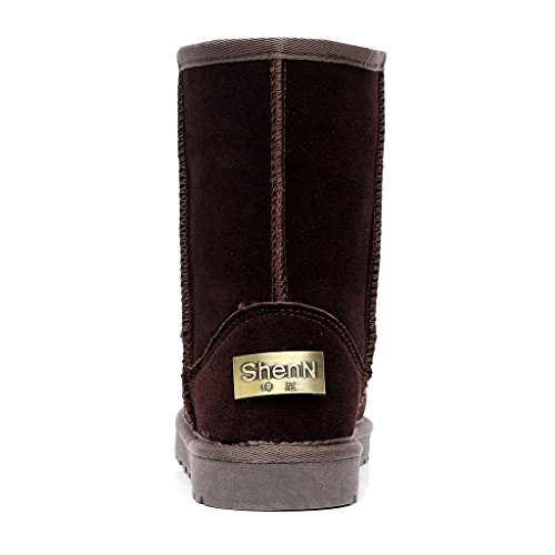 Shenn Femmes Mode Confortable Antidérapante Suède Cuir Neige Bottes SN1025 Chocolat