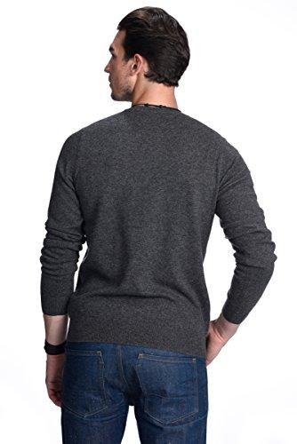 STATE CASHMERE langärmliger Pullover aus 100% reinem Kaschmir für Herren mit Rundhalsausschnitt Holzkohle