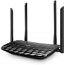 TP-Link Archer C6 Gigabit Wi-Fi Dual Band AC1200 draadloze router, 5 Gigabit-poorten, 4 externe antennes en 1 interne antenne, 2,4 GHz / 5 GHz, Access point modus, MU-MIMO, gastnetwerk, zwart