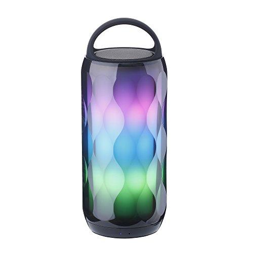 POHO Enceinte Bluetooth Lumineuse LED Haut-Parleur Portable Sans Fil, Contrôle Tactile 6 Couleur LED Lumière, Mains Libres Téléphones, Carte TF Support, Compatible avec iPhone, iPad, Smartphones Android, PC, Noir