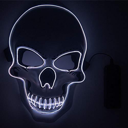 Blendend Weißen Kostüm - Newzeal LED Maske Grimasse Masken LED Leuchten Maske Karneval Halloween Festival Party Cosplay Für Halloween Kostüm Cosplay Party (Weiß)