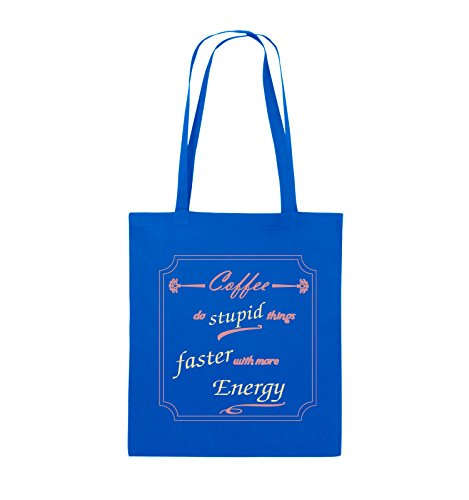 Comedy Bags - Coffee do stupid things faster with more Energy - Jutebeutel - lange Henkel - 38x42cm - Farbe: Schwarz / Weiss-Neongrün Royalblau / Rosa-Beige