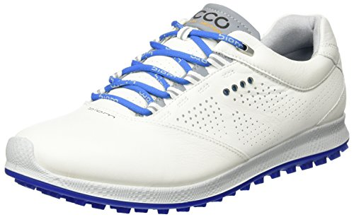 Ecco Men's Biom Hybrid 2, Chaussures de Golf Homme, Blanc (White/Bermuda Blue), 43 EU