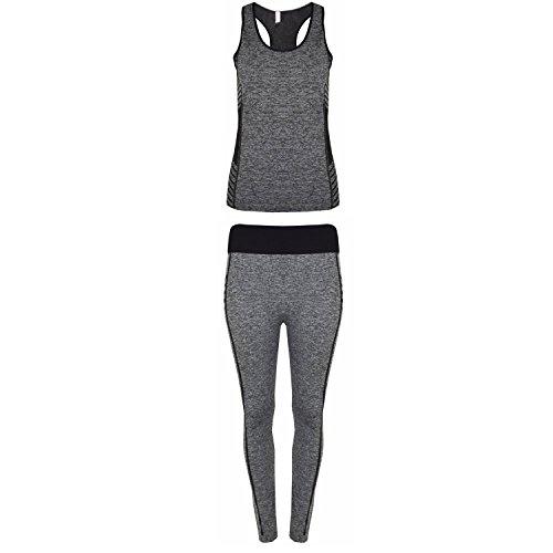 Desire Clothing 2pcs Gym Sports Leggings Haut court Fitness Yoga Ensemble pantalon Royaume-Uni 6–18 noir