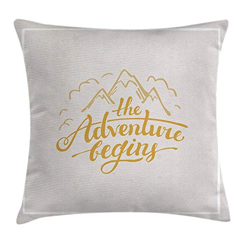 Adventure Throw Pillow Cushion Cover, Vibrant Mountain View and The Adventure Begins Quote Travel Hand Drawn, Decorative Square Accent Pillow Case, 18 X 18 Inches, Earth Yellow Apricot -