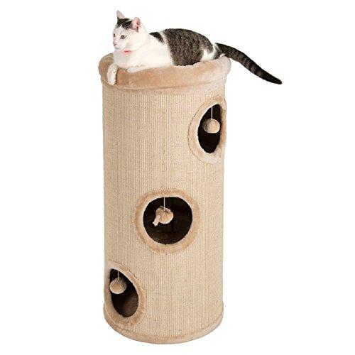 Barril de rasguños grande cubierto con sisal donde tu gato puede afilar sus garras, jugar o napa. La plataforma superior tiene una cama de felpa suave. Dimensiones: 100 x 45 cm. El barril de arañazos Diogenos XL es ideal para que tu gato juegue y afi...