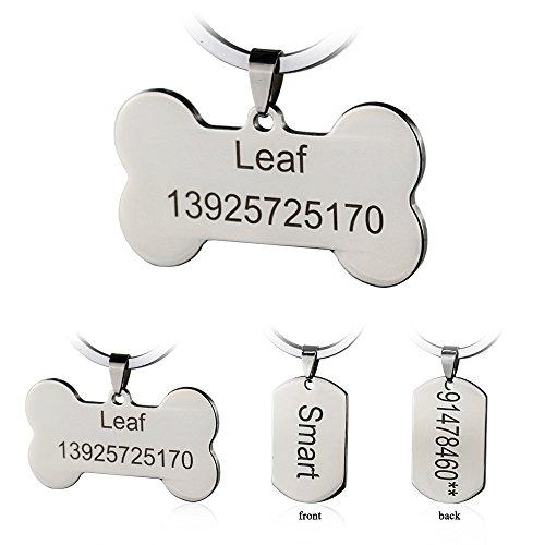 Etiquetas de identificación de mascotas de acero inoxidable Etiquetas de perro personalizadas...