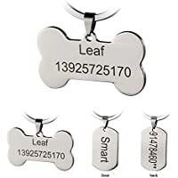 Etiquetas de identificación de mascotas de acero inoxidable Etiquetas de perro personalizadas personalizadas Grabado frontal / posterior para gato y perro con diferentes formas