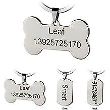 Etiquetas de identificación de mascotas de acero inoxidable Etiquetas de perro personalizadas personalizadas Grabado frontal /