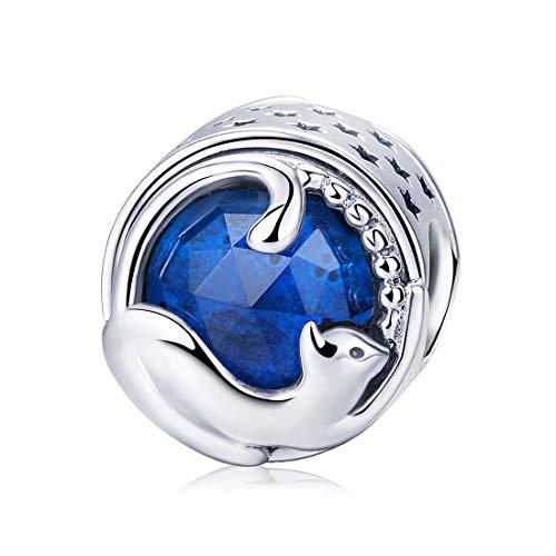 Damen Sterling Silber Charms Katze Tier European Bead für Charm Armbänder Dark Blue Zirkonia