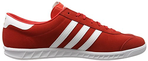adidas Herren Hamburg Low-Top Rot (Red/Footwear White/Gold Metallic)