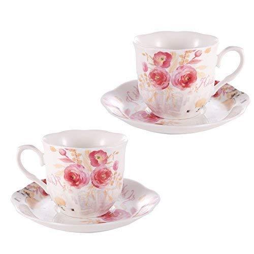 GuangYang Bone China Kaffeetassen mit Untertassen Porzellan Cappuccino Set 7 oz 2er Rose Painting...