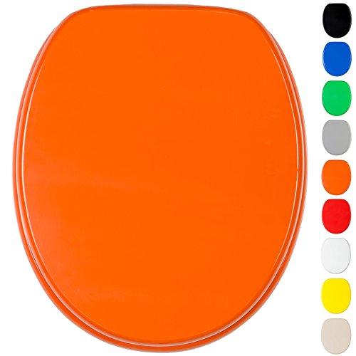 WC Sitz mit Absenkautomatik, viele einfarbige WC Sitze zur Auswahl, hochwertige und stabile Qualität aus Holz (Orange)