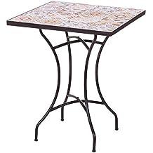 Mesa de jardín de Hierro y Mosaico Beige para terraza Garden - LOLAhome