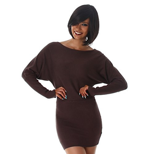 Damen Langarm Strick-Kleid I Minikleid Longpulli I Rundhals Ausschnitt I Longshirt I Langarm-Shirt I Einheitsgröße in 5 Farben (Braun)