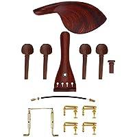 Alomejor Instrumento Musical Piezas de Violín de Palisandro 1Circulación 1Tailpiece 4Tunners Pegs 1Endpin Violín DIY Hecho a Mano