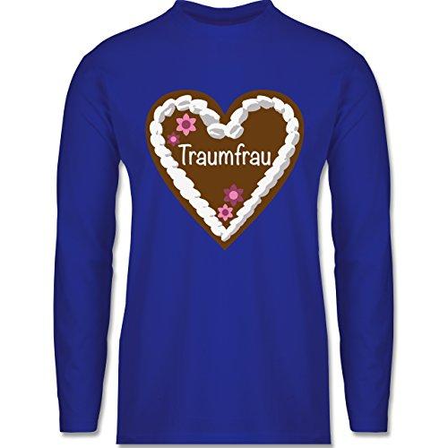 Shirtracer Valentinstag - Lebkuchenherz Traumfrau - Herren Langarmshirt Royalblau