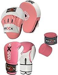 Curved pink Focus pads set, Hook & Jab Pads, Gloves & hand wraps