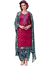 Rosaniya Un-stitched Spun Wool Embroided Self Printed Salwar Suits For Women With Printed Spun Wool Bottom And...