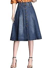 2eacf75733 QJKai Falda de Mezclilla para Mujer Sección Delgada Cintura Alta Falda de  una línea Delgada Falda a Media Pierna de un…