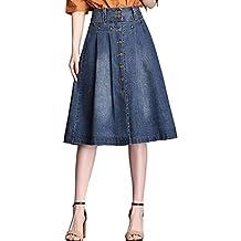 023c08113a QJKai Falda de Mezclilla para Mujer Sección Delgada Cintura Alta Falda de  una línea Delgada Falda