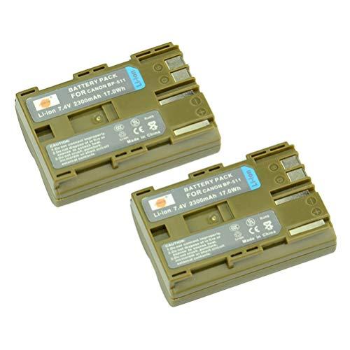 DSTE 2-Pack Rechange Batterie pour Canon BP-511 BP-511A EOS 10D EOS 20D EOS 20Da EOS 300D EOS 30D EOS 40D EOS 50D EOS 5D EOS D30 EOS D60 EOS DM-MV100X DM-MV100Xi DM-MV30 DM-MV400 DM-MV430 DM-MV450 DM-MVX1i